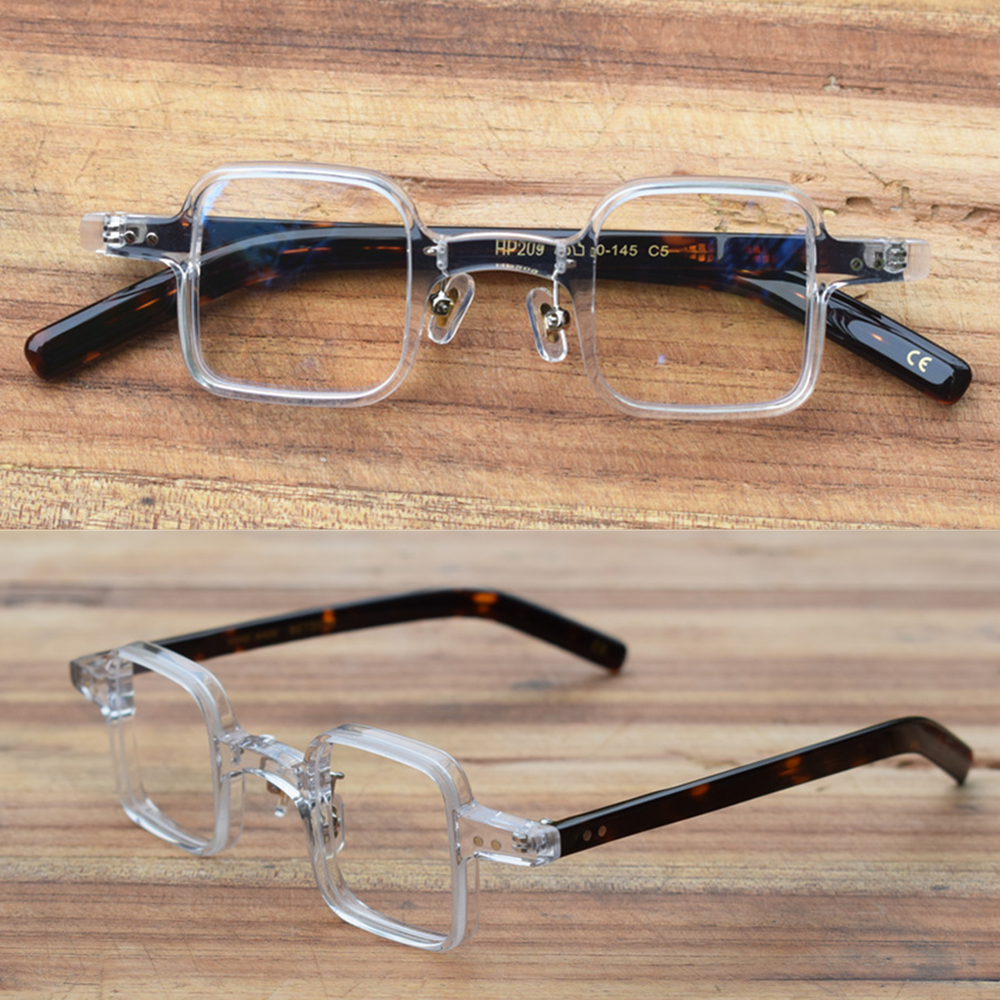 Hand Made Vintage Small Square Acetate Eyeglass Frames Full Rim Glasses Spectacles Myopia Rx able Unisex Top Quality HP209