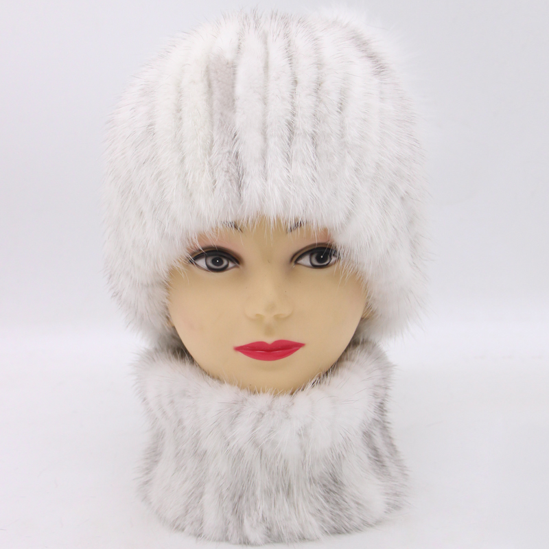 JKP Natural Mink Fur Beanie Hat Scarf Set Winter Warm Accessories Fashion Real Mink Fur Womens Hat And Scarf Set High Quality