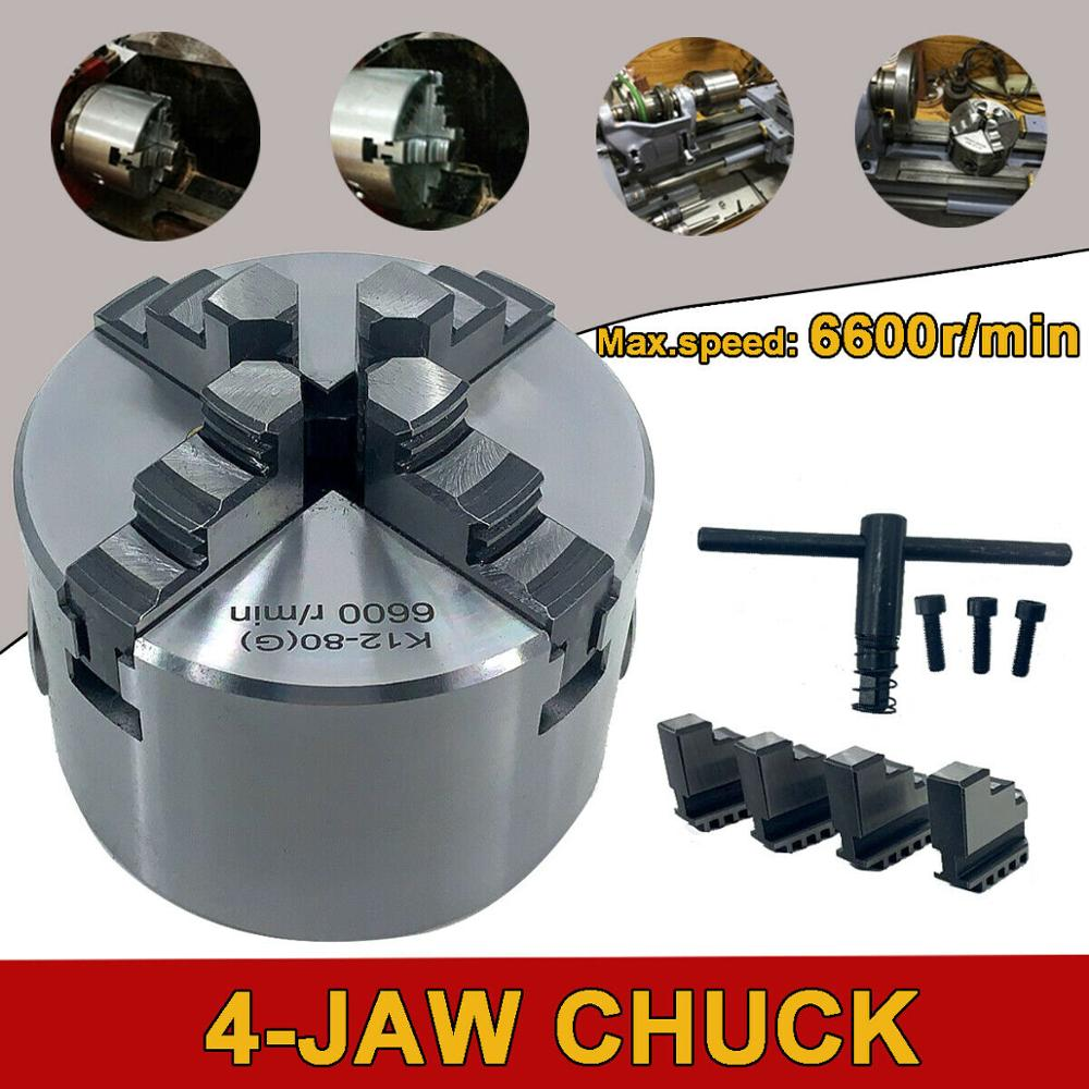 4 Jaw Chuck 80mm Self-centering Chuck Four Jaw Chuck Lathe Chuck Chuck's With Hardened Steel M6 DHL