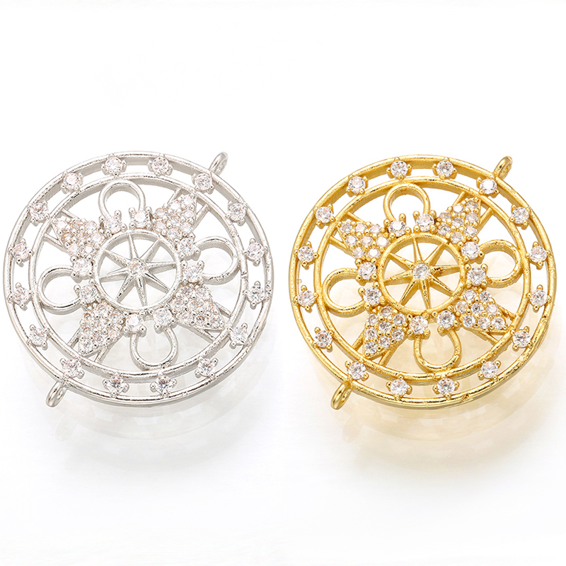 ZHUKOU 26x30mm gold/ silver color crystal cutout charms connector for women necklace bracelet jewelry accessories model: VS406
