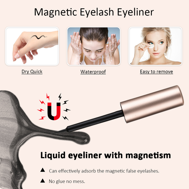 5 Pair Magnetic Eyelashes With Magnet Liquid Eyeliner Tweezer Set Waterproof Long Lasting Natural Mink False Eyelashes Extension 2