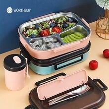 WORTHBUY Tragbare Lunch Box Für Kinder Schule Lebensmittel Container 304 Edelstahl Bento Box Mit Fach Mikrowelle Lebensmittel Box