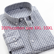 2019 New High Quality 100%pure Cotton Super Large Loose Men Thickened Autumn Dress Shirts Flannel Plaid Plus Size XXL 9XL 10XL