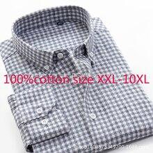 2019 Yeni Yüksek Kaliteli % 100% saf Pamuk Süper Büyük Gevşek Erkekler Kalınlaşmış Sonbahar Elbise Gömlek Pazen Ekose Artı Boyutu XXL 9XL 10XL