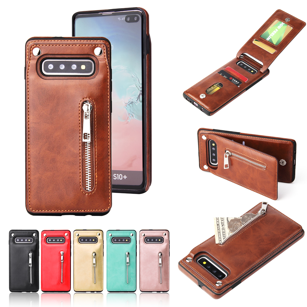 Business leather case with solid color zipper wallet and mobile phone case For Samsung Galaxy Note 8 Note9 back cover phone case