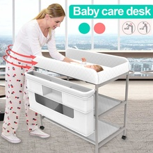 Baby Diaper Changing Tables Foldable Newborn Baby Infant Clothes Changing Desk Shower Massage Baby Care Table Baby Crib 2 Layers