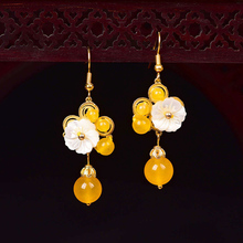 Chinese Natural Stone Drop Earrings For Women Ethnic Handmade Jewelry Vintage Design Bead accessories Wedding party Gift chinese ethnic dangle earrings for women handmade drop earrings vintage jewelry bead accessories wedding party gift