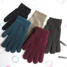 Для женщин и мужчин унисекс зимние вязаные перчатки в рубчик с полными пальцами базовые однотонные утепленные плюшевые перчатки с подкладкой Теплые наручные перчатки