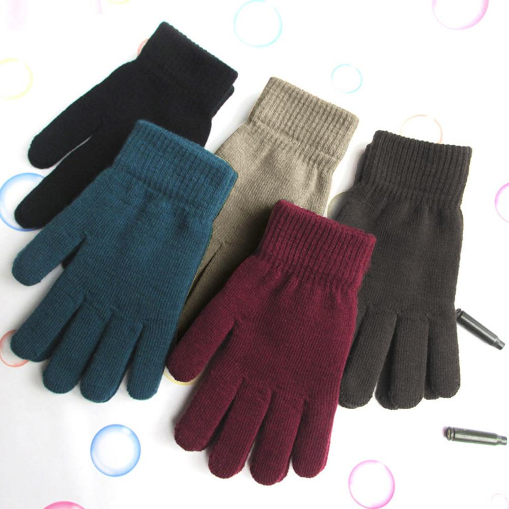 Women Men Unisex Winter Ribbed Knitted Full Fingered Gloves Basic Solid Color Thicken Plush Lining Mittens Thermal Wrist Warmer