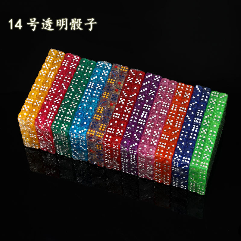 11 PCS/Lot Dice Set High Quality Colorful Transparent Acrylic 6 Sided Dice  For Club/Party/Family Games 14mm
