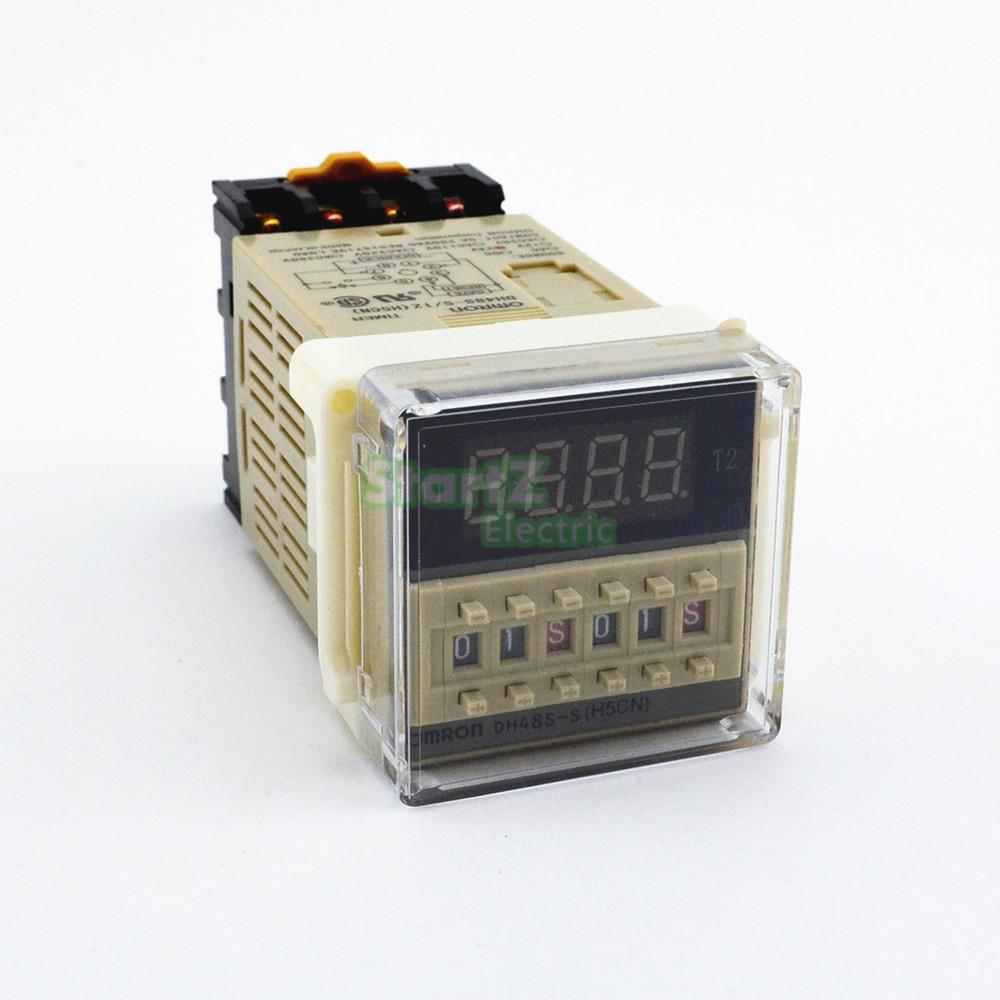 1Pcs DH48S-S Programável Double Time Delay Relé Soquete Base de Tensão DC12V DC24V AC110 AC220V
