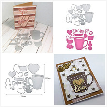 Naifumodo Coffee Cup Set Metal Cutting Dies for DIY Scrapbook Album Paper Craft Creative Stencil Stamps