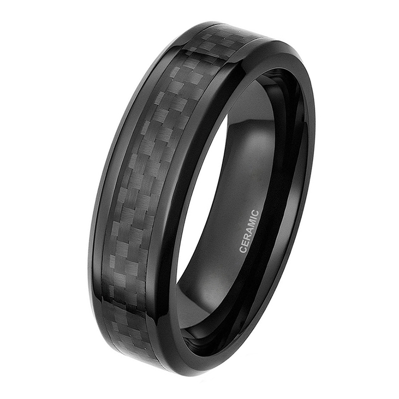 Somen Ceramic Men's Wedding Rings Black Carbon Fiber Inlay Men Engagement Ring 6mm 8mm Male Fashion Jewelry