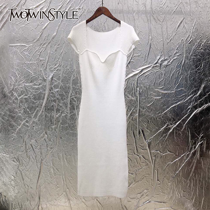 TWOTWINSTYLE Knitting Slim Female's Dress Square Collar Short Sleeve High Waist Midi Elegant Dress Women 2020 Summer New Clothes