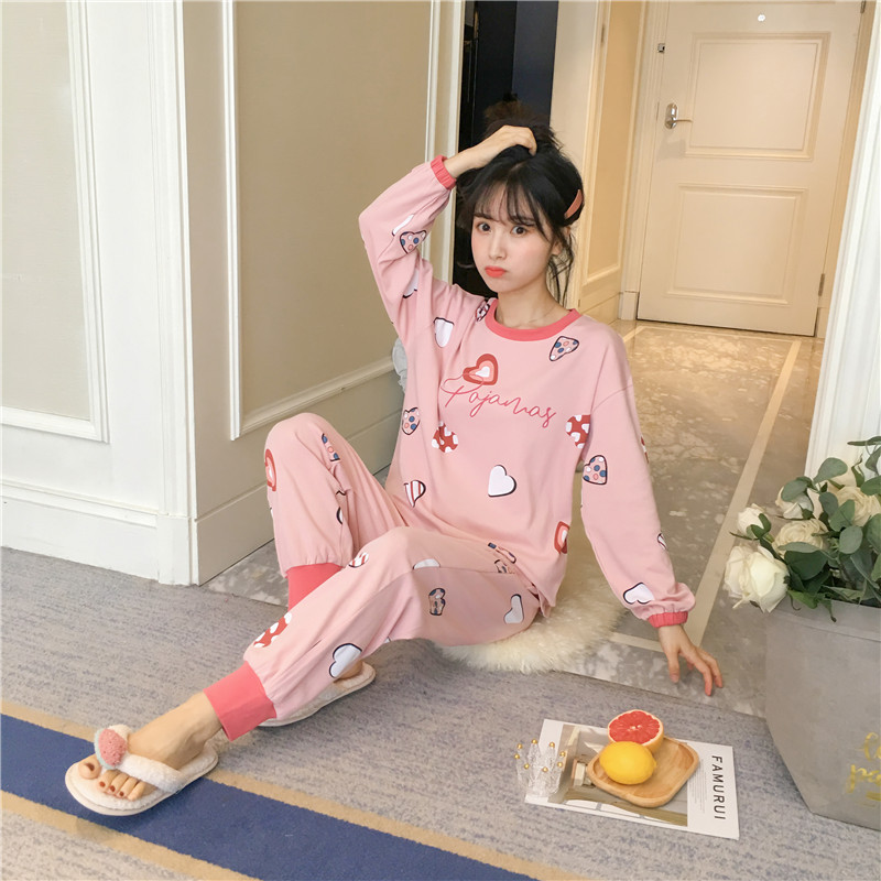 New Style Spring Comfortable Long Sleeve Knitted Cotton Cartoon Pajamas Underwear Printed Convention Seam Women's Home Wear