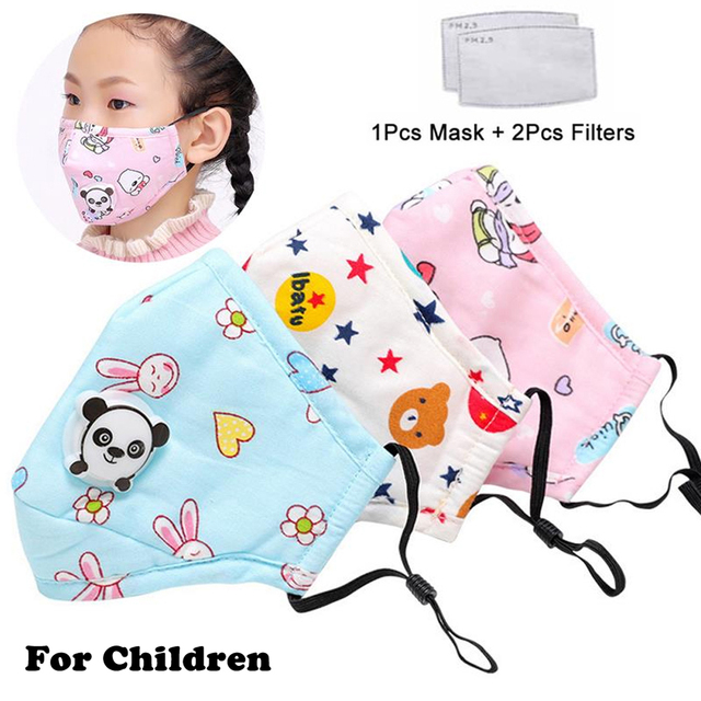 1Pcs Mouth Mask Children Kids Thicken Cotton Face Mouth Mask Pollution PM2.5 Mask Cute Bear Cartoon Animal 1