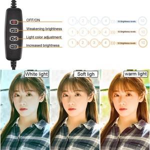 """Image 3 - 6 10 """"светодиодный светильник для селфи с кольцом лампа для Tik Tok фотография Макияж Видео Live Studio 3200 5600K Диммируемый Мини светодиодный кольцевой светильник для камеры"""