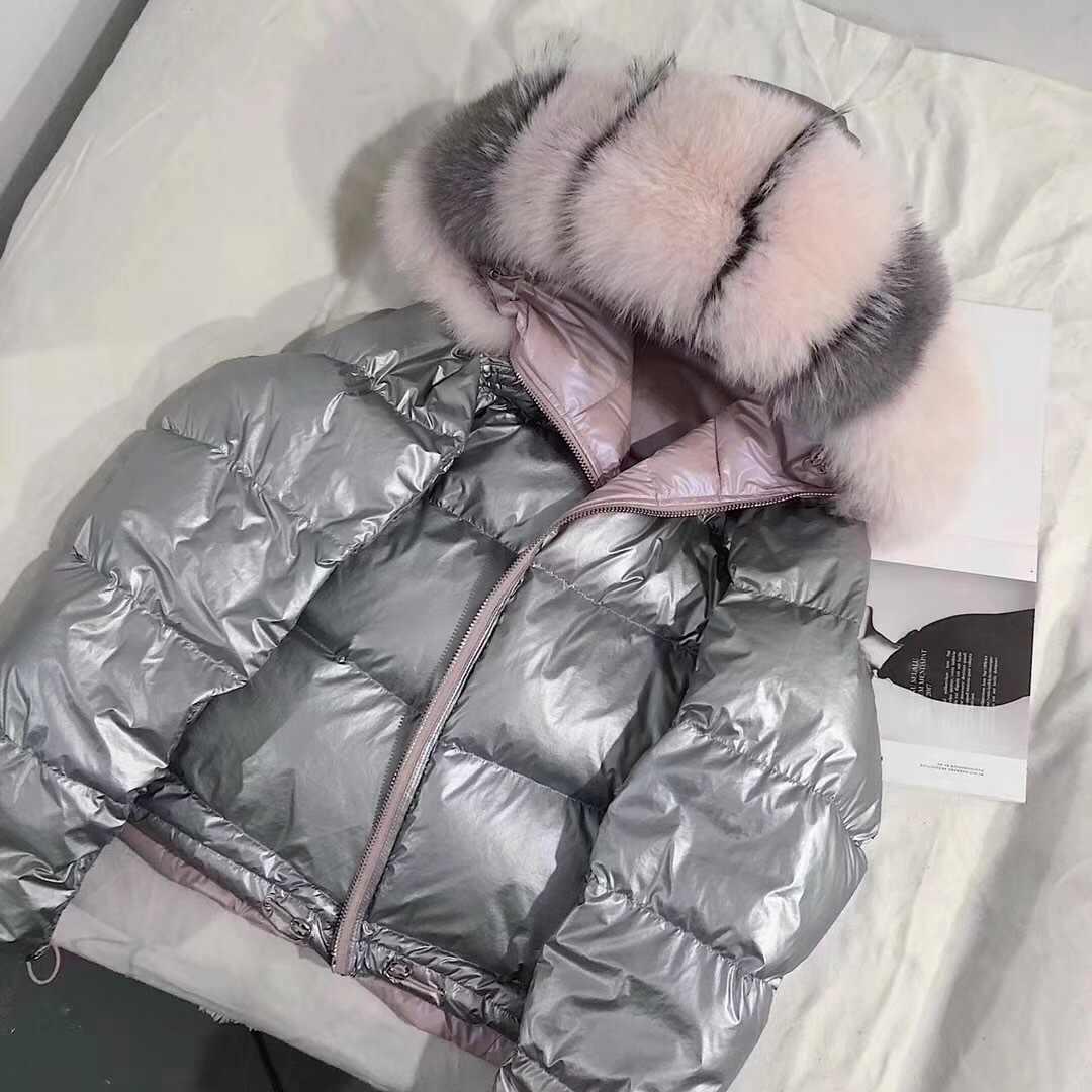 Manteau de fourrure véritable fourrure de renard naturel col manteaux veste d'hiver femmes en vrac court blanc canard doudoune épais chaud vers le bas Parka