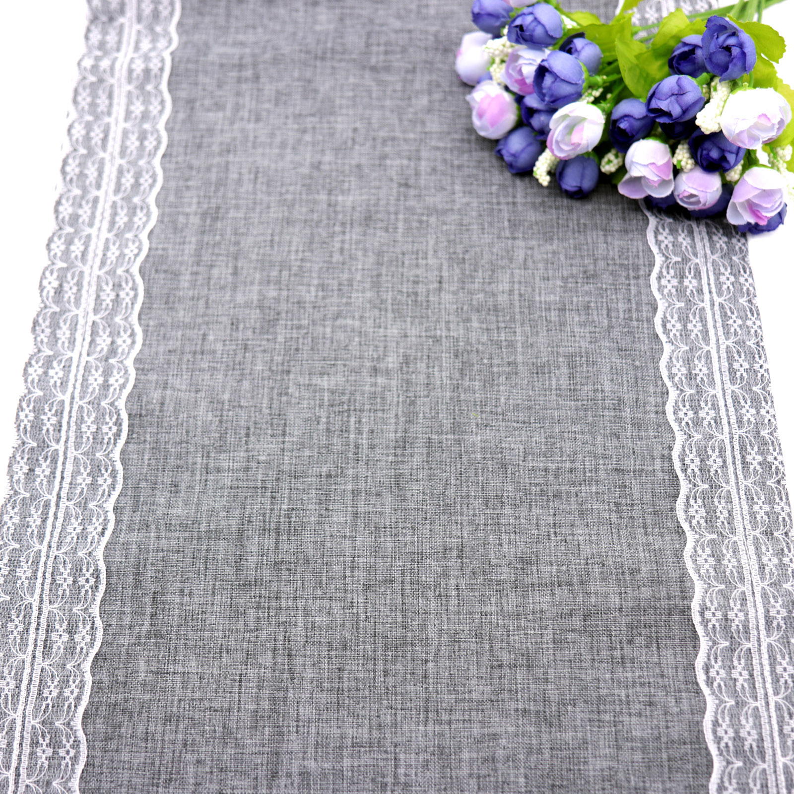 1pcs 30x275cm Gray Lace Table Runner Natural Jute Burlap Imitated Linen Table Cloth Party Rustic Wedding Decor Home Textile