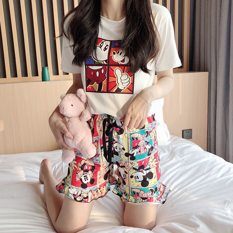 Women Pajamas Shorts Pyjama Round Neck Short Sleeve Set Summer Cartoon Sleepwear Casual Nightwear Homewear