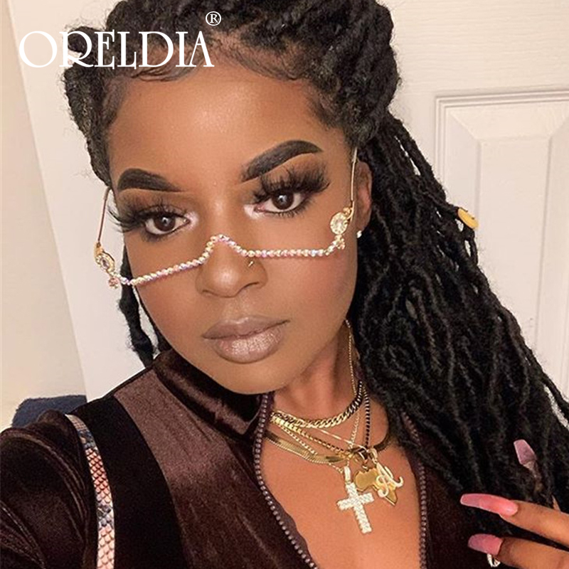 Fashion Half Frame Glasses Women Female Vintage No Lense Eyeglasses Frame Luxury Rhinestone Chain Pendant Alloy Frame Unisex