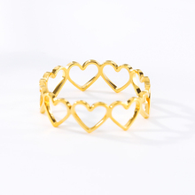 Hollowed-Out Heart Rings For Women Men Stainless Steel Geometric Ring Anillos Mujer Love Jewelry Accessories Birthday Gift