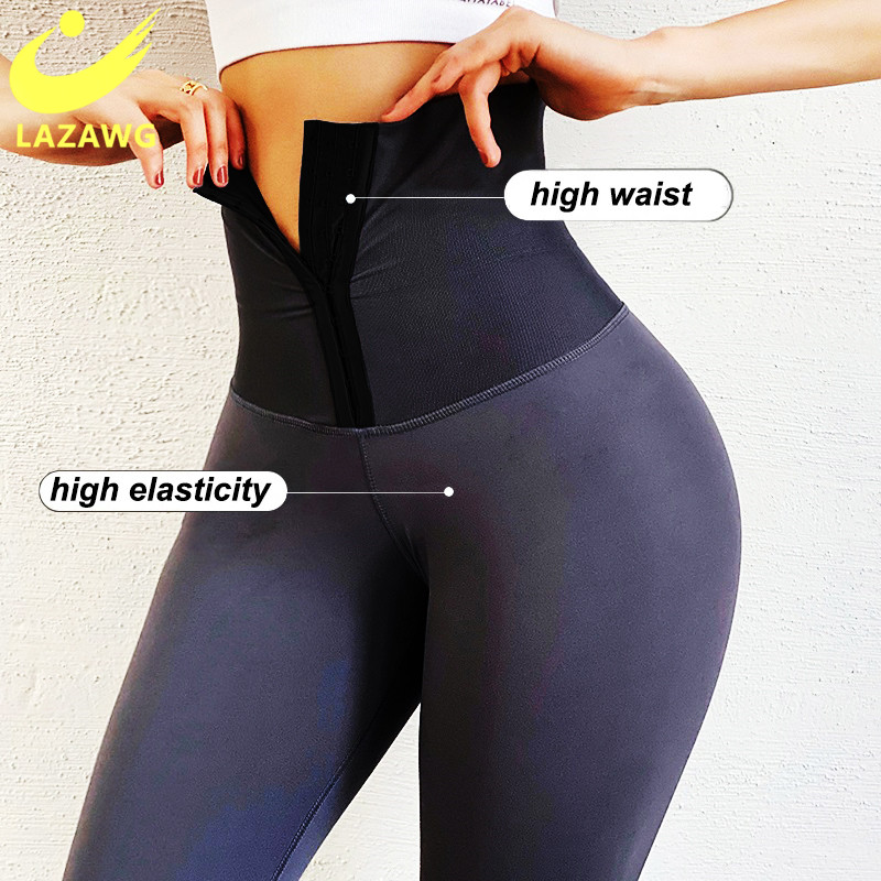 LAZAWG High Waist Trainer Sports Leggings for Women Push Up Butt Lifter Shapewear Slimming Tummy Control Panties Slimming Pants