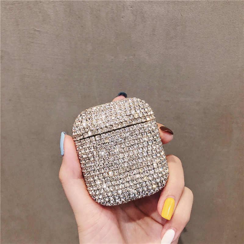 Luxe 3D Bling diamants étui rigide pour Apple Airpods 1 2 protection sans fil Bluetooth écouteurs accessoires couverture boîte de charge
