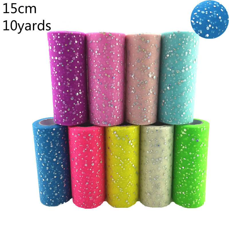 Tulle Roll 10 Yards 15cm Glitter Sequin  Tutu Fabric Wedding Decoration Organza Laser DIY Crafts Birthday Party Supplies White