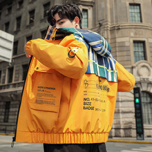 2019 Autumn Jacket Man Loose bomber hip hop Coat Leisure Time Trend camo Work Clothes Chinese Style Yellow Black