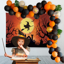 Amawill Halloween Decoration Background Tapestry Orange Balloon Chain Birthday Decor Pirate Skull Ballon Stent Supplies Kids Toy(China)