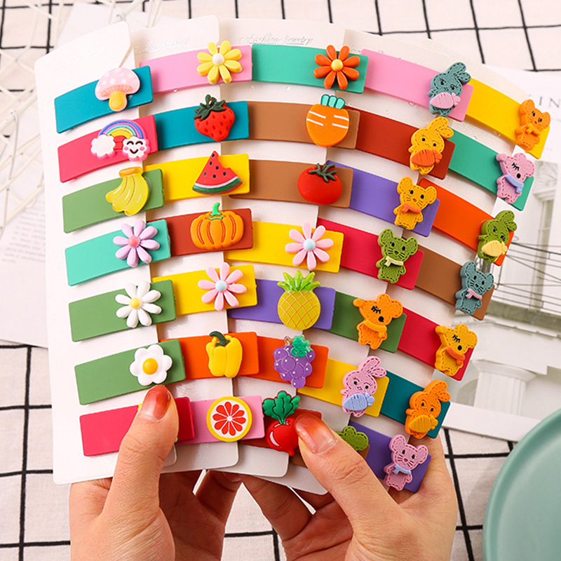 7PCS/Set Girls Cute Colorful Cartoon Barrettes Children Lovely Hair Ornament Clip Hairpin Headband Kids Fashion Hair Accessories