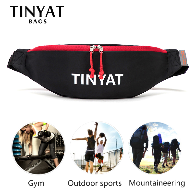 TINYAT Nylon Man's Waist Bag Packs Waterproof Sports Belt Bag Pouch Casual Fanny Bag Women Banana Bags Unisex Hip