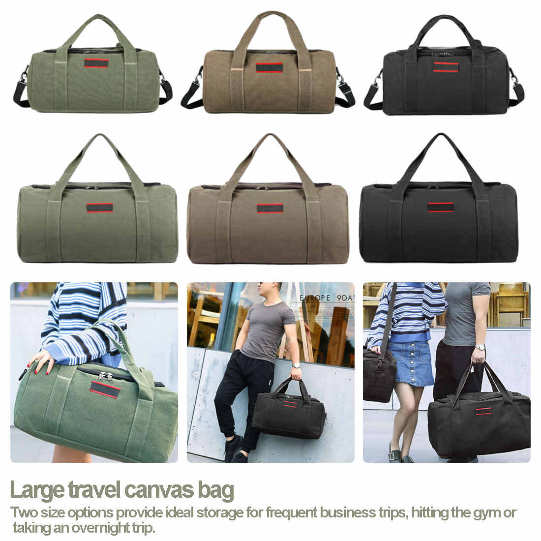 Fashion Travel Kapasitas Besar Kanvas Tas Portabel Tas Totes