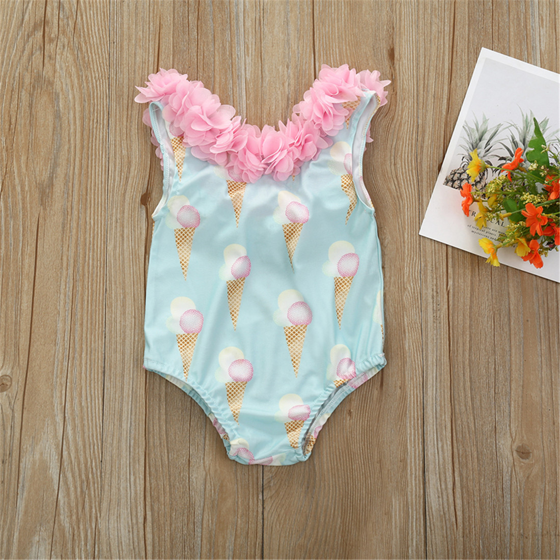 Pudcoco Toddler Baby Girl Clothes Ice Cream Print Sleeveless Flower Ruffle Swimwear Swimsuit Swimming Beach Clothes