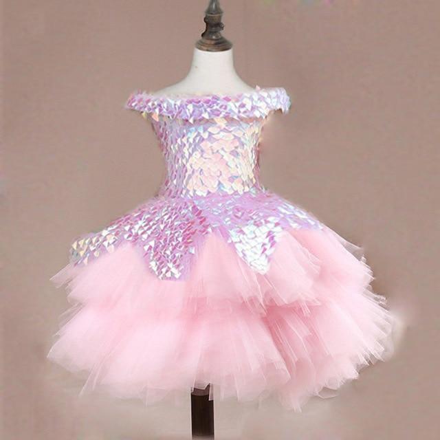 Children Tailing Formal Dress Princess Dress 2019 New Style Christmas Catwalks Short Tailing Deconstructable Pink Costume Summer