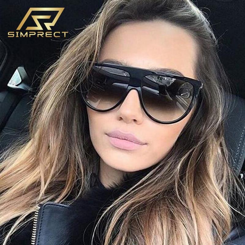 SIMPRECT moda boy güneş gözlüğü kadın 2020 degrade Vintage Shades kadınlar için lüks marka tasarımcısı güneş gözlüğü kadınlar için