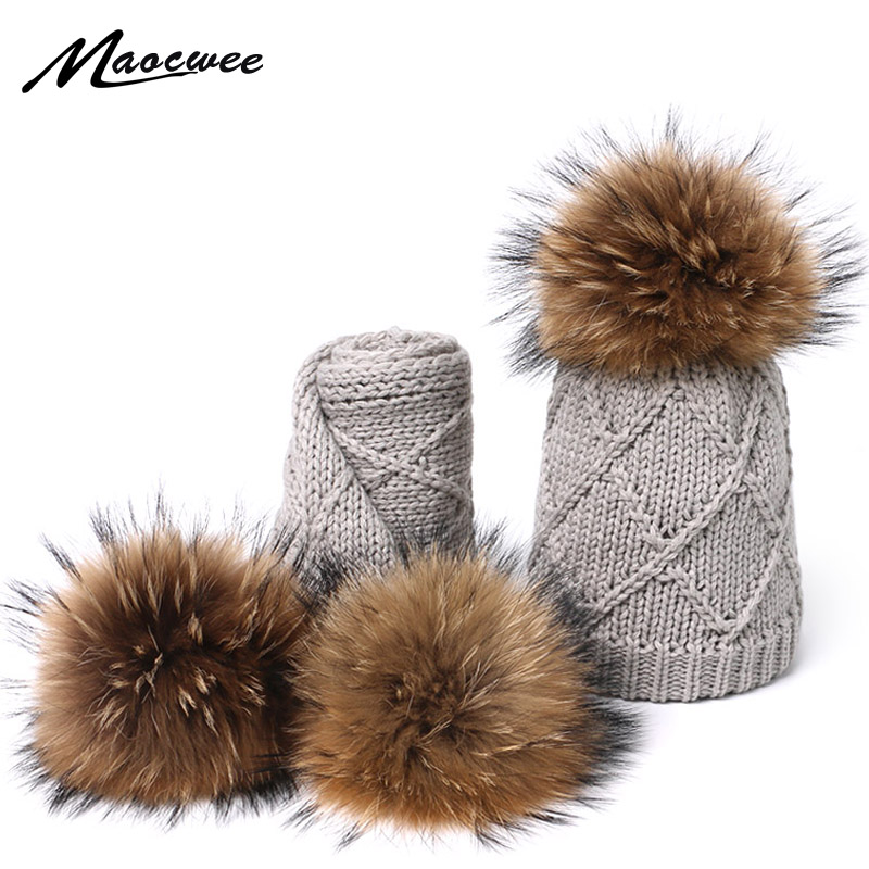 Real Fur Pompom Hats Scarf Set For Children Raccoon Fur Pompom Hat Scarf Set Girls Boys Knitted Beanies Hat Cap Brand Scarves