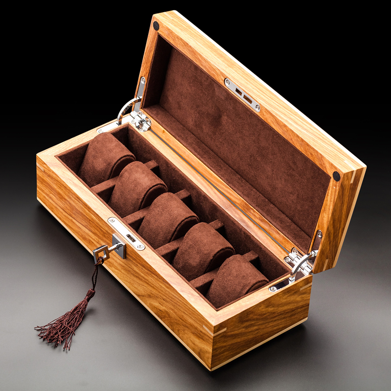 New 2020 Solid Wood Watch Storage Display Boxes Case Home Use YELLOW Jewelry Case With Lock