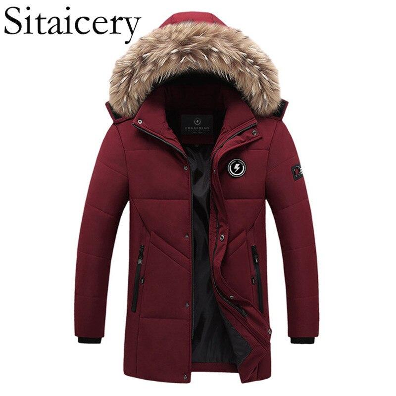 Sitaicery 2019 Hoody Down Coat Vintage Waterproof Men's Down Jacket Clothes Thick Down Jacket Man Fur Collar Parka Streetwear