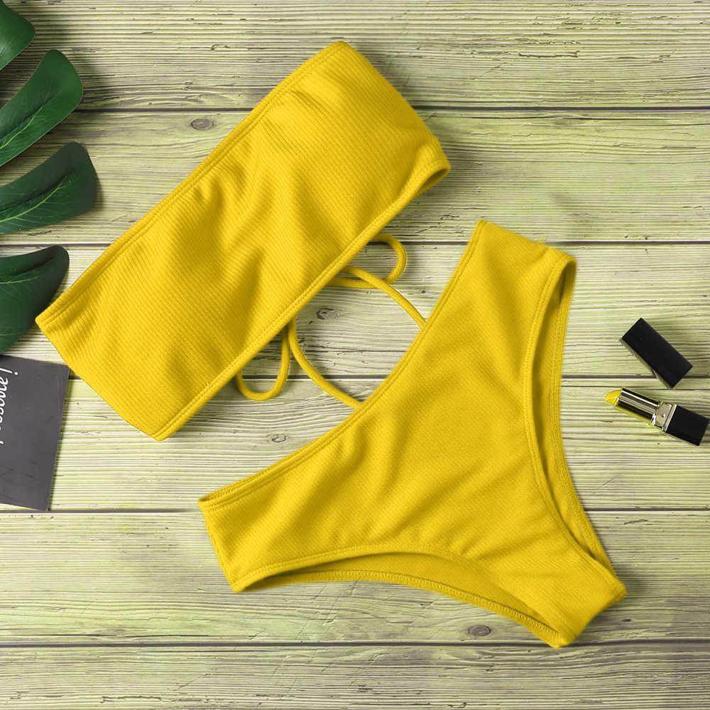 2020 nowe Bikini kobiety stroje kąpielowe wysokiej talii bez ramiączek seksowne Bikini Pure Color kobiety strój kąpielowy wyściełany strój kąpielowy Monokin