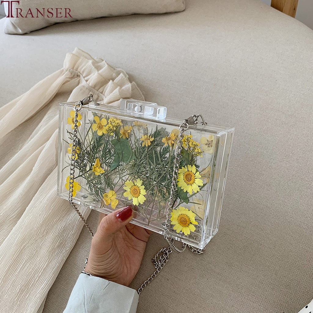Women's Bag Flower Transparent Jelly Small Square Bag Case Shoulder Messenger Shoulder Bag Fashion Pvc Waterproof Beach Bag