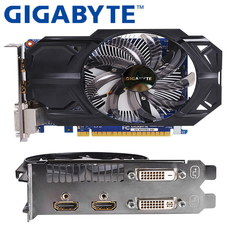 GIGABYTE Graphics Card With 2GB GDDR5 128 Bit NVIDIA GeForce Gtx 750 Ti GPU Video Card For PC Hdmi Dvi Used VGA Cards