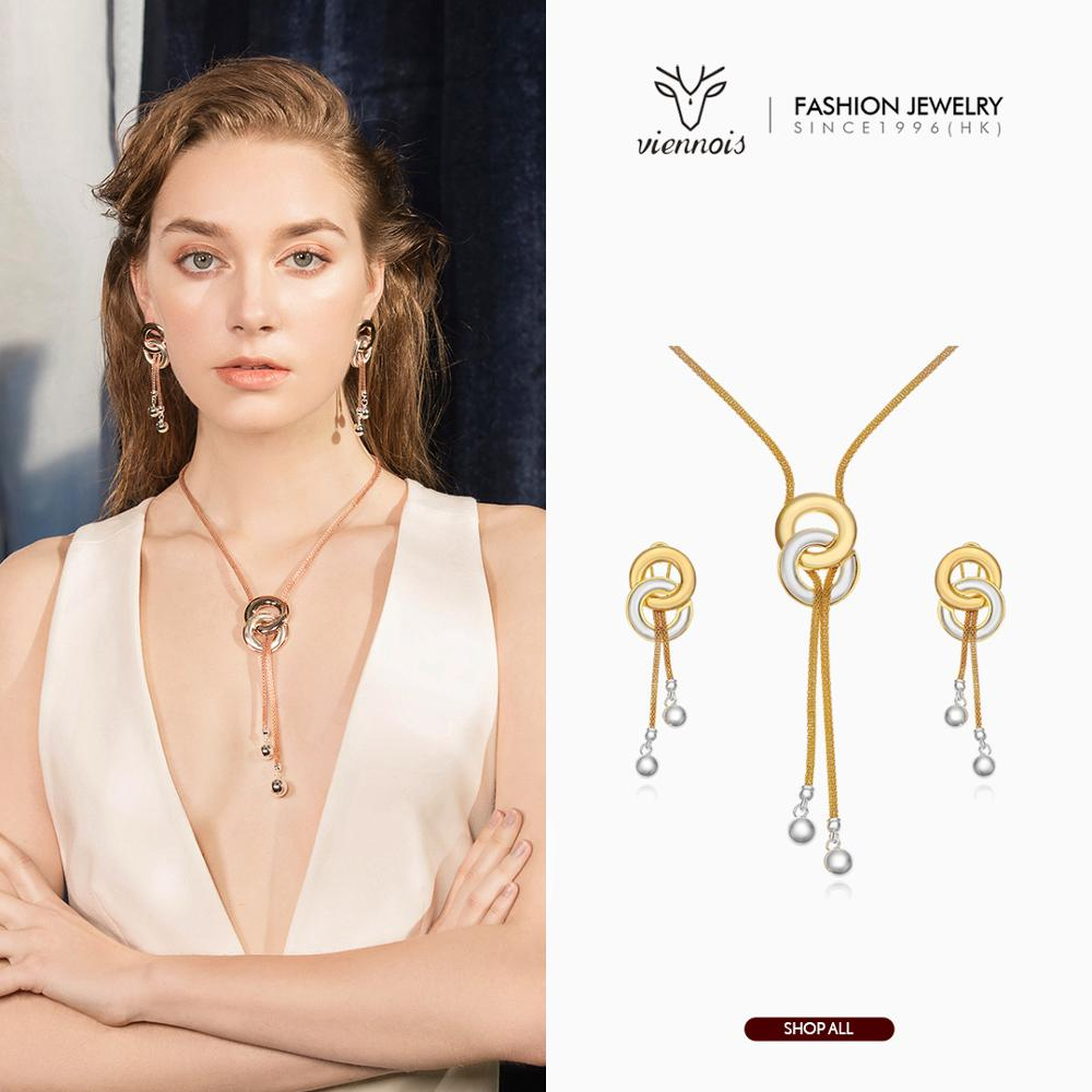 Viennois New MixSilver/ Rose Gold Color Drop Earrings Necklace Set for Women Female Party Jewelry Sets 2019 end table