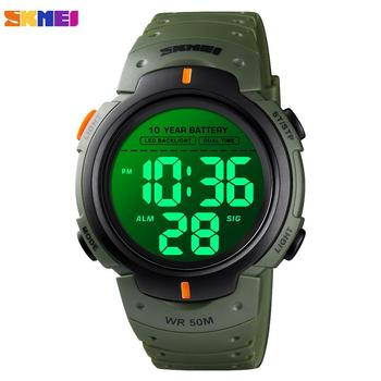 цена на SKMEI 5Bar Waterproof Men Sports Watches Luminous Male Clock Stopwatch Alarm Electronic Wristwatches Battery lasts For 10 years