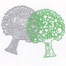 Numbers Tree Metal Cutting Dies Stencil Scrapbooking Photo Album Card Paper Embossing Craft DIY