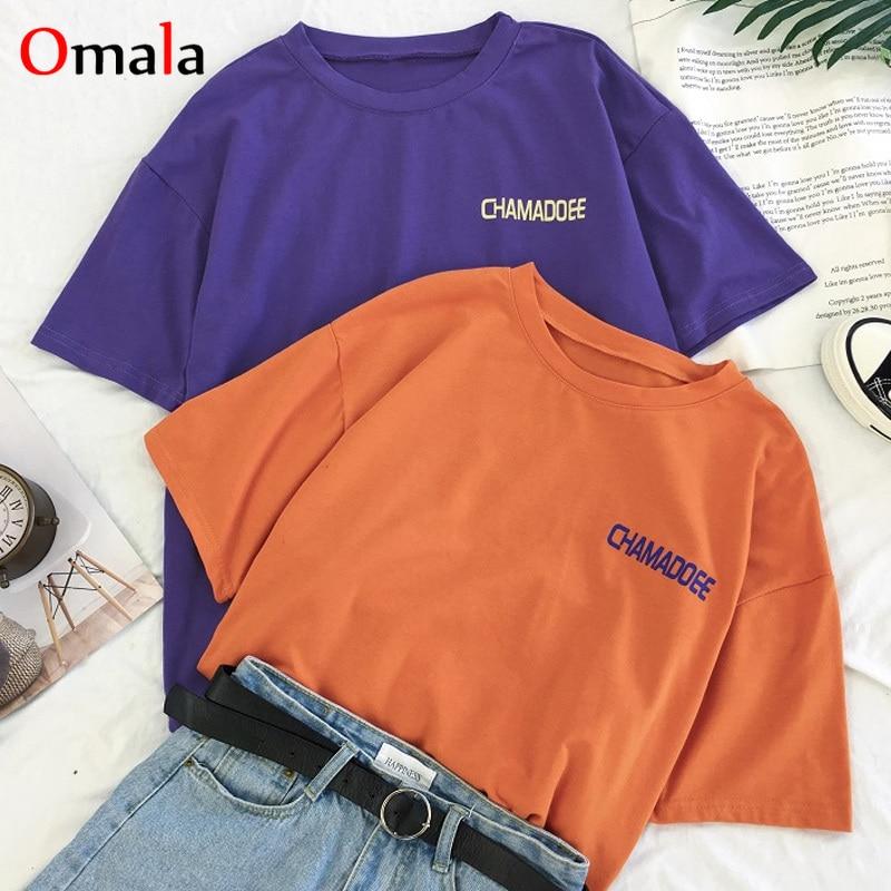 2020 Summer T Shirt Women Tops Letter Printing T-shirts Femme Funny Short Sleeve Harajuku Purple Tee Shirt Camisetas Mujer Femme
