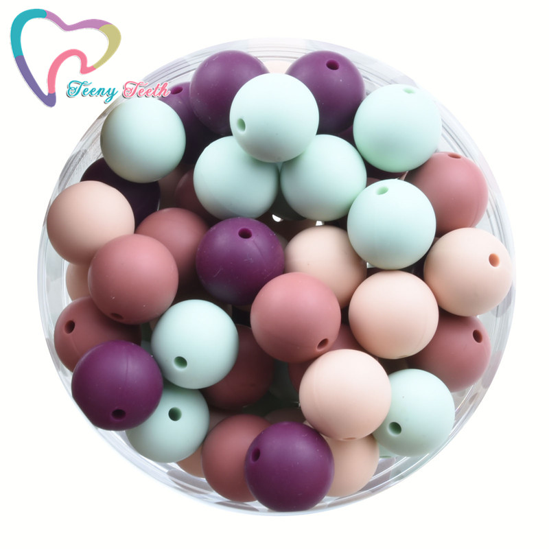 20 PCS 9-15 MM Silicone Round Ball Beads Baby Teethers Personalized Name Teether Chains Accessories Hexagon 14-17 MM Loose Beads