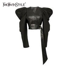 TWOTWINSTYLE Vintage Patchwork Leder Tops Für Frauen V Neck Puff Sleeve Lace Up Kurze Hemd Weibliche 2020 Herbst Mode Neue flut