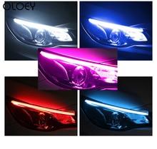 OLOEY 2pcs Led DRL Daytime Running Lights Turn Signal DRL Led Strip Car Light Accessories Brake Side Lights Headlights For Auto цена 2017